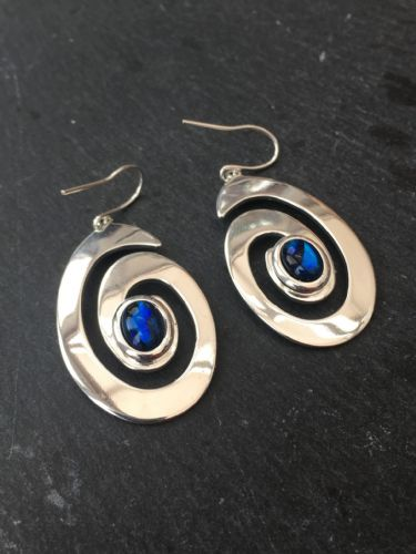 Paua Blue Earrings - Large Swirl PE17-LS